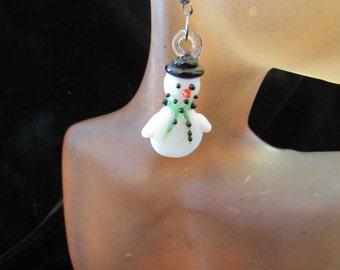 Vintage Pair Of Glass Christmas Snowman Pierced Dangle Earrings