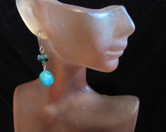 Vintage Pair Of Hand Made Irridesent Blue Glass Beaded Pierced Dangle Earrings
