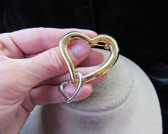 Vintage Large Two Tone Heart Pin With Dangling Heart