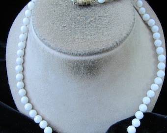 Vintage Milk Glass Beaded Necklace
