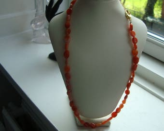 SOLD 2/6 2017 necklaces orange coral pearls with gilded chain and carabin lock