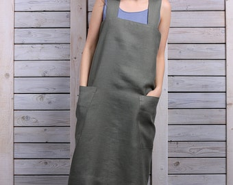 Cross back apron / Work dress / Japanese style apron / sage