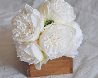 Ivory White Silk Peony Flowers for Wedding Bridal Bouquets,Bridesmaid Bouquet,Home Decor, Centerpiece, Silk Bouquet,Corsage, Wedding =5pcs