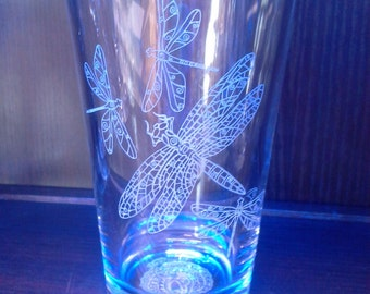 FREE SHIPPING - Sandcarved Chelline Larsen's Dragonflies