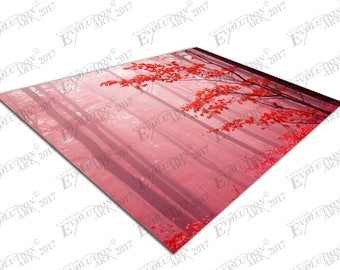 Print on Canvas Foggy autumn day into the red forest X1486