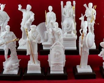 12 Olympian gods Set Statues, Greek Pantheon NEW White