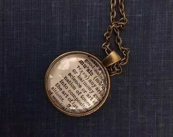 MUSIC Vintage Dictionary Word Pendant