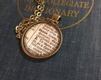 DANCE Vintage Dictionary Word Pendant
