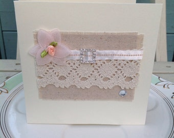 Spring wedding card,  birthday card, wedding card, anniversary card, handmade cards, thank you card, blank card, downton abbey style card