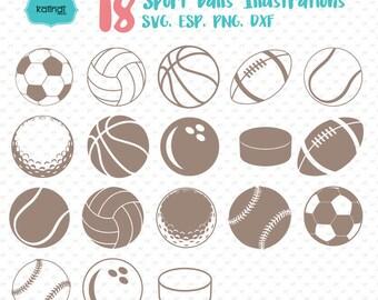 Sports ball svg files, baseball, football, volleyball, golf, hockey,  softball, tennis, basketball, soccer, svg, cut files. Id#svgsp2