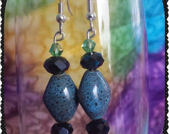 Black and Blue Glass Earrings