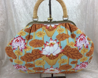 The Betty Lotus frame bag. Kaffe Fassett Lotus Stripe design fabric handbag purse handmade in England
