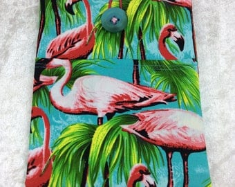 Flamingos Small Tablet Case fabric cover pouch handmade in England