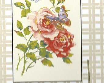 Collection d'Art-FLOWERS BUTTERFLY-Needlepoint Canvas #1117258-Size-11.8 X 15.7inch