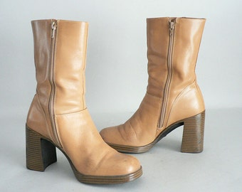 Women 8 Chunky Heel Leather Platform Boots