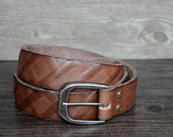 Leather Belt,Mens Belt ,Durable Full Grain Belt,Brown Distressed Leathrer Belt,Punk Rock Style