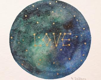 "original mini painting ""galactic love"""
