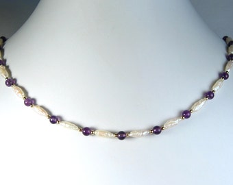 Freshwater Pearl and Amethyst Necklace Gold 18""