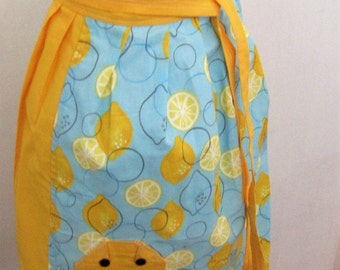 Cute Juicy Lemon Apron. Kitchen Linen. Vintage Gift For Her. Womens Apron. Clean. Protection. Serve. Practical Protection From Spills