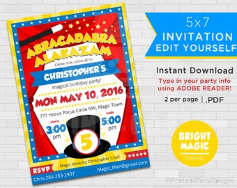 "Magic Birthday Invitations - 5""x7"" Invitations - Magic Birthday - Self Editable PDF - Magician Party - Instant Download - Adobe Reader"