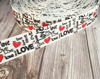 "7/8"" love ribbon - Valentine ribbon - Graffiti ribbon - Artistic ribbon - Artsy valentine ribbon - Grosgrain ribbon - Red black white - Love"