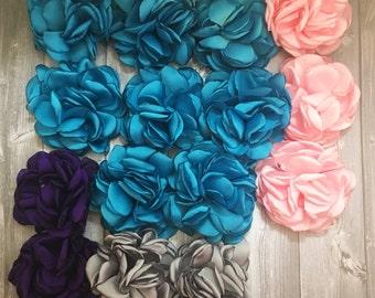 15 Satin rose flowers - Crafting flowers - Felt back - Headband DIY - Hair clip DIY - Wedding DIY - Wedding flowers - Destash sale - Rose