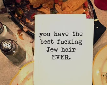 Greeting Cards, Jewish Card, Funny Card, Wholesale, Friend Card, Card for Him, Card for Her, Jewish Friend, Jew Hair, Jew Fro