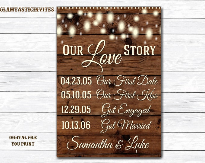 Our Love Story Sign, Rustic Wedding Sign, Rustic Bridal Shower Sign, Rustic Wedding Decor, Our Love Story, Love Story Sign, Rustic Decor