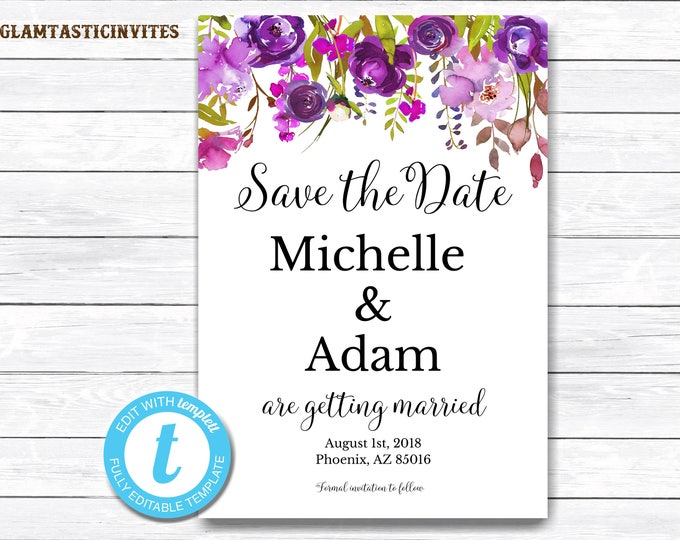 Floral Save the Date Template, Floral Invitation Template, INSTANT Download, DIY Save the Date, Floral Invitation, Save the Date, Floral