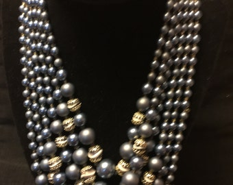 Gorgeous Blue Coro Signed 6 Strand Necklace
