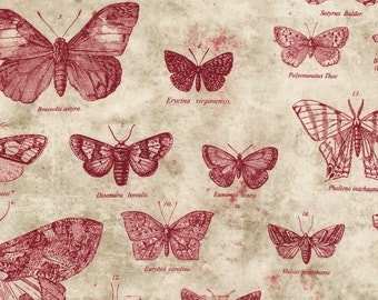 1/2 yd Eclectic Elements Red Butterflies by Tim Holtz for Coats & Clark PWTH004-RED