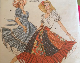 Vintage 80s Kwik Sew 913 Square Dance/Dirndl Pattern-Sizes 6 to 12