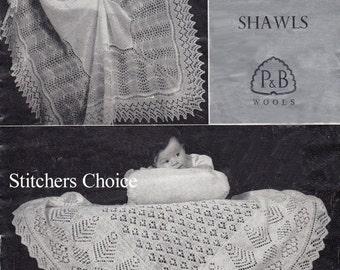 Knitting Pattern for TWO SHETLAND SHAWLS