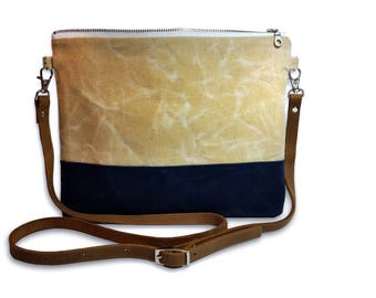 Waxed Canvas and Leather Crossbody Bag in Natural and Navy - Day Bag - Adjustable Crossbody Purse