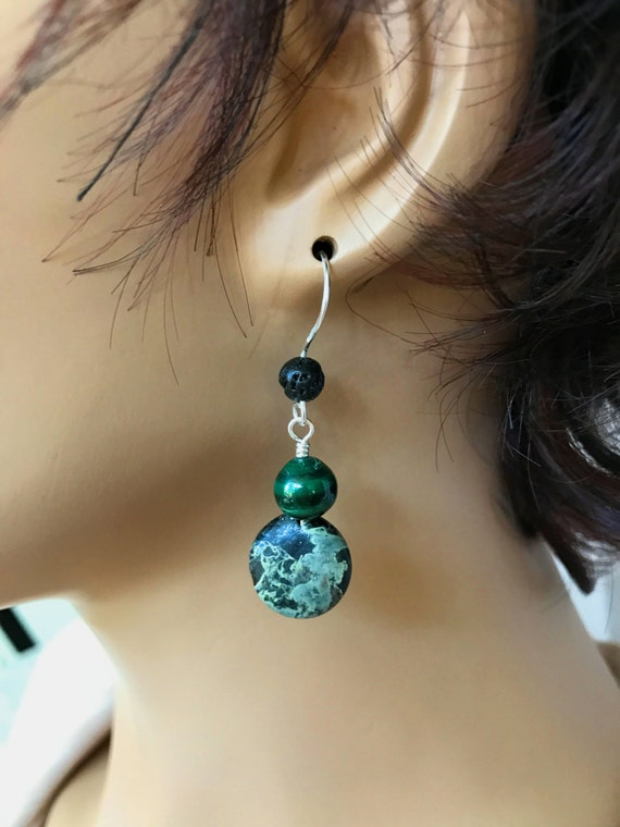 Diffuser Earrings. Camo Jasper. Green Malachite. Sterling Silver Ear Wires with Lava Bead. Essential Oil Jewelry for Aromatherapy. Diffuse.