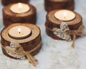 75 set Wood tealight holders Rustic wedding decor Woodland candle holders Lace hearts candle holders Wedding table decorations natural wood