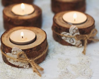 50 set Rustic candle holders Wood tealight holders Woodland wedding centerpiece Rustic wedding decor Eco wood home decor Lace table decor