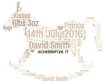 A4 or 5x7 Size Personalised Rocking Horse Word Art Print - New Baby, Birthday Cute Gift  *Digital File Also Available*