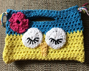 Child's Sleepy Owl Purse, Cotton Purse, Slepy Owl Purse, Crochet Girl's Purse, Whimsey Owl Purse, Gift, Yellow and Turquoise Child's Purse