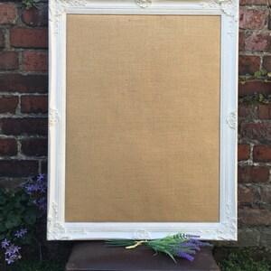 framed burlap board large pin board white vision board ornate hessian board shabby chic notice board framed message board - White Framed Chalkboard