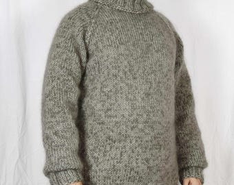 Hand Knitted WOOL MOHAIR Pullover Men Sweater Turtleneck soft thick Jumper