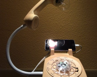 Vintage Rotary Phone Desk Lamp and iPhone Charger