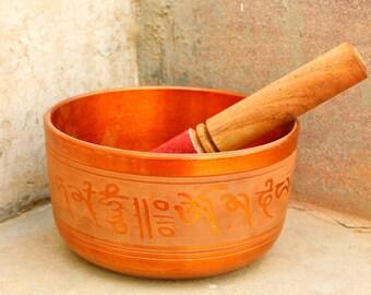 Tibetan yoga Meditation Singing bowl with Leather Padded Mallet handmade Kotsa 2