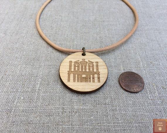 The Treasury Al-Khazneh Petra Kadesh-Barnea Carved Choker Pendant—Recycled Maple Wood & Chemical-Free Cashew-Beige Leather