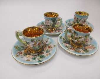 8 pc. Made in Italy Gold Gilded Tea Cups/Saucers
