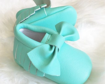 Baby Moccasins - Bow Moccasins - Mint Green Moccasins - Mint Moccasins - Birthday Moccasins - Half Birthday - Baby Girl