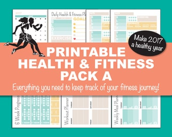 Fitness Planner Pack A, Health and Fitness, Workout Planner, Health Diary, Aqua, Pale Orange, Beige, INSTANT DOWNLOAD