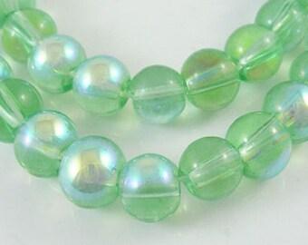 "Light Green AB 8mm Round Glass Beads (31"" Strand)"