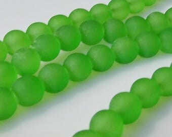 """Frosted Green 8mm Round Glass Beads (30"""" Strand)"""