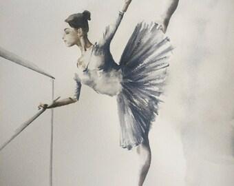 "Ballerina VIII ORIGINAL WATERCOLOUR painting 16.5"" x 22.5"" Free Worldwide Shipping"
